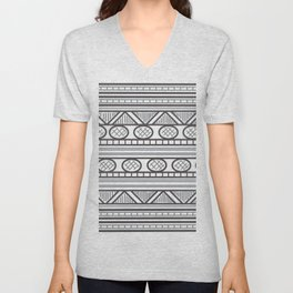 Black and White Geometric Pattern Aztec Line Art Unisex V-Neck