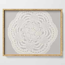 Cream on Taupe Antique Crocheted Lace Pineapples Doily Serving Tray