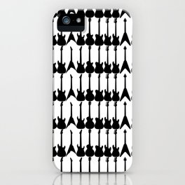 Guitar Silhouettes Black on White Pattern iPhone Case
