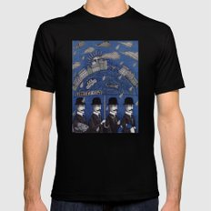 Four Men Waiting Mens Fitted Tee Black 2X-LARGE