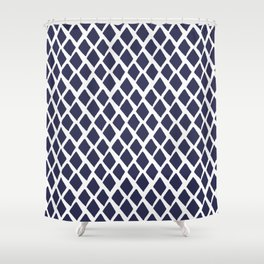 Rhombus Blue And White Shower Curtain