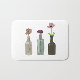 flowers in glass bottles . Pastel colors . artwork Bath Mat