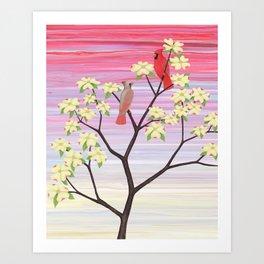 cardinals and dogwood blossoms Art Print