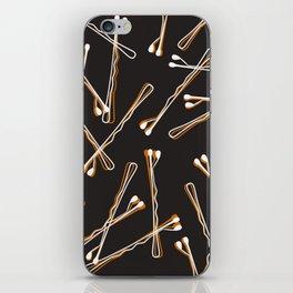 Bobby Pins on Black iPhone Skin
