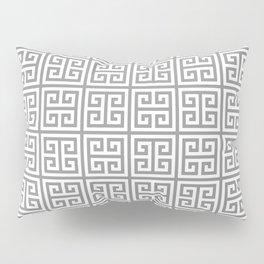 Greek Key pattern - Greek fret design , grey, white Pillow Sham