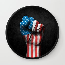 Flag of The United States on a Raised Clenched Fist Wall Clock