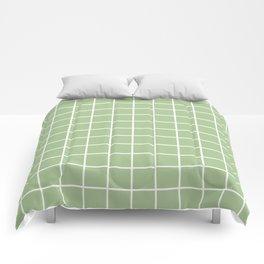 Grid Pattern Sage Green 2 Comforters