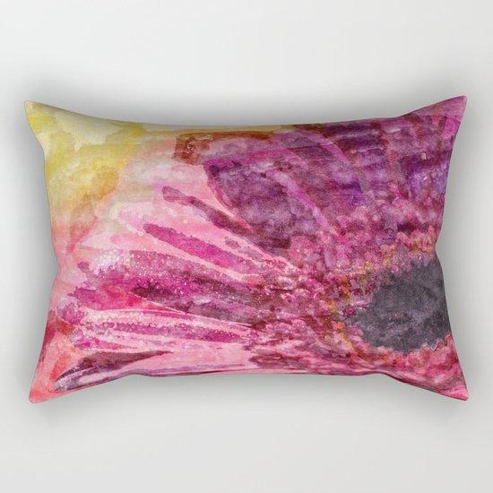 Pink glitter blossom -Floral watercolor illustration Rectangular Pillow