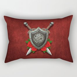 Shield with Chinese Dragon, Roses and Crossed Swords on Red Rectangular Pillow