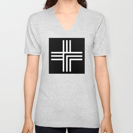 Geometric Swiss Cross (white with black background) Unisex V-Neck