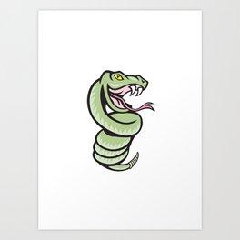 Rattle Snake Coiling Up Cartoon Art Print