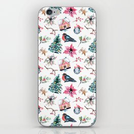 Christmas watercolor pattern. iPhone Skin