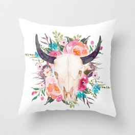 Watercolor bull skull with flower garland Throw Pillow