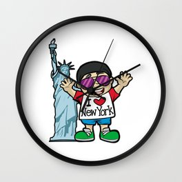 I LOVE NEW YORK Lady of Liberty Statue Torch USA Wall Clock