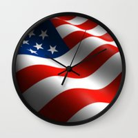 patriots Wall Clocks featuring Patriotic US Waving Flag  by Barrier Style & Design