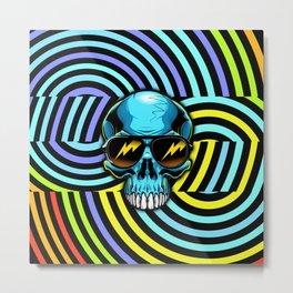 Funky Hypno Skull Metal Print