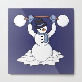 Weightlifting Snowman Metal Print