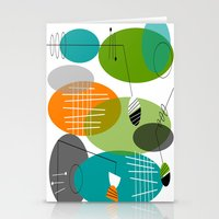 mid century modern Stationery Cards featuring Mid-Century Modern Atomic Ovals by Kippygirl