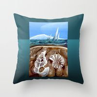 geology Throw Pillows featuring The Geology of Boating by Patricia Howitt