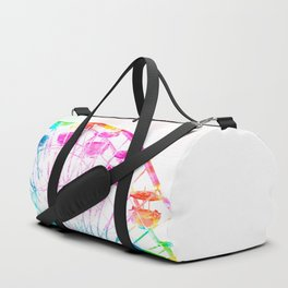 ferris wheel in the city with colorful painting abstract in blue pink yellow green Duffle Bag