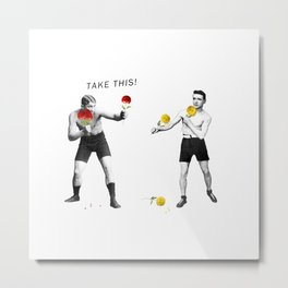 Floral fight - humor Metal Print