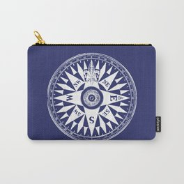 Nautical Compass | Navy Blue and White Carry-All Pouch