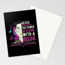 RBG Never Underestimate Girl With a Book Stationery Cards