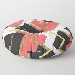Chic Coral Pink Black and Gold Square Geometric Floor Pillow