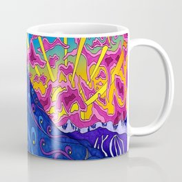 psychedelic colorful lines nature mountain trees snowy peak moon sun rays hill road artwork star sky Coffee Mug