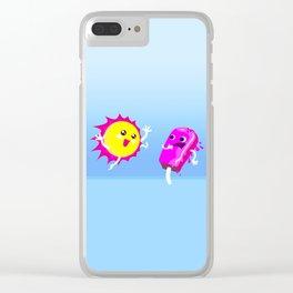 Sun Hug Ice Cream Scream Clear iPhone Case