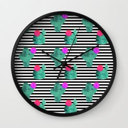 Cactus Stripes White Background Wall Clock