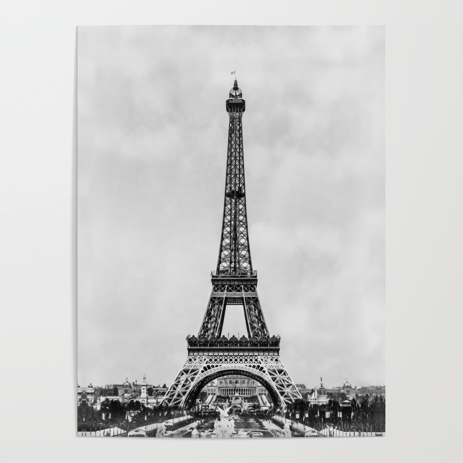 Eiffel Tower Paris France In Black And White With Painterly Effect Poster By Rqdesignsretroquotes Society6