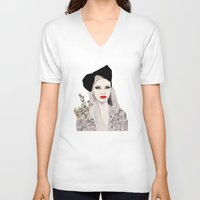 bow V-neck T-shirts featuring Bow by Melania B