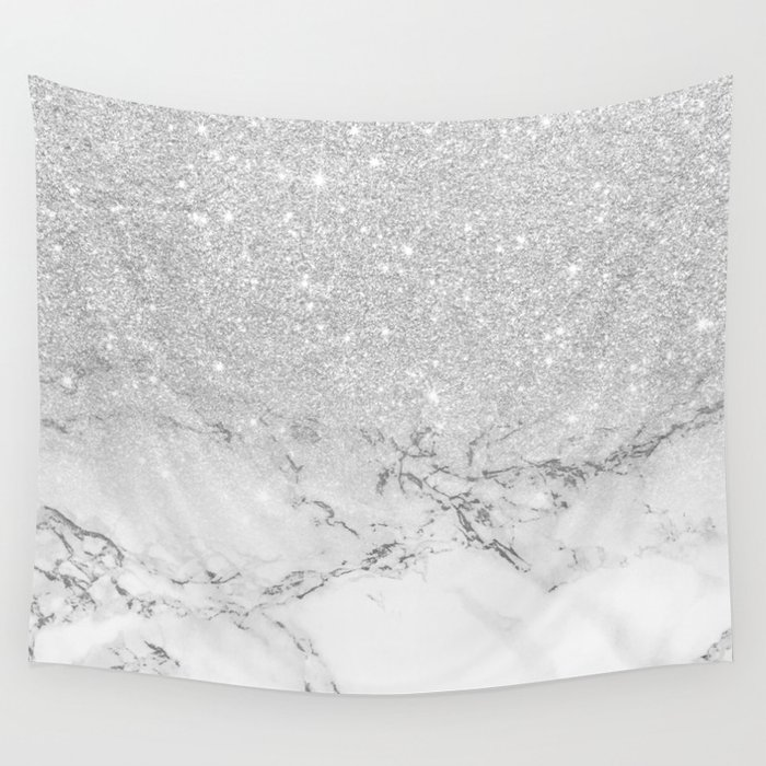 Modern Faux Grey Silver Glitter Ombre White Marble Wall