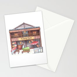 Rustic wooden hut front view travel sketch from Koh Rong tropical island, Cambodia Stationery Cards