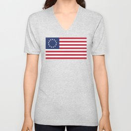 Betsy Ross flag - Authentic color and scale Unisex V-Neck