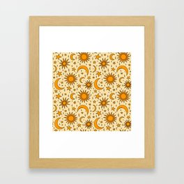 Vintage Sun and Star Print Framed Art Print