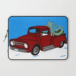 Old Red Christmas Truck In Snow Laptop Sleeve