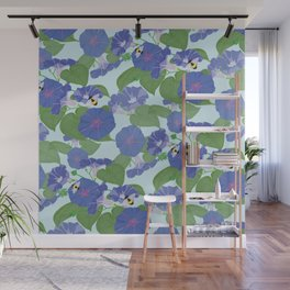 Glory Bee - Vintage Floral Morning Glories and Bumble Bees Wall Mural
