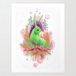 Green donkey Art Print