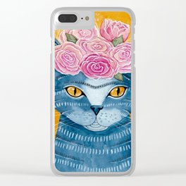 Frida Catlo in Blue Clear iPhone Case