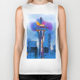 The Space Needle In Soft Abstract Biker Tank