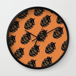 Orange Pinecone Pattern Wall Clock