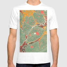 Marbled Green Orange 2 MEDIUM White Mens Fitted Tee