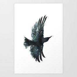 Crow Watercolour Art Print