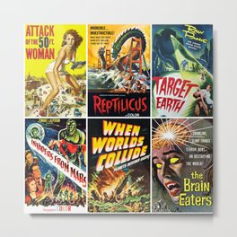 50s Sci-Fi Poster Collage #3 Metal Print