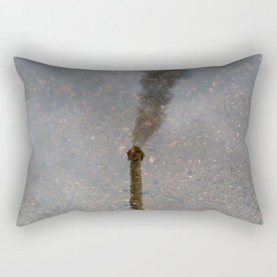 Factory Chimney  Reflection in Water Rectangular Pillow