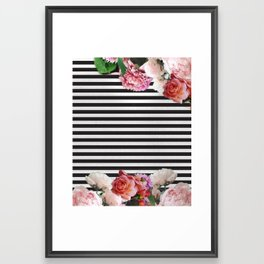 stripes and flowers Framed Art Print