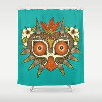 tiki Shower Curtains featuring Tiki Majora by Paula García