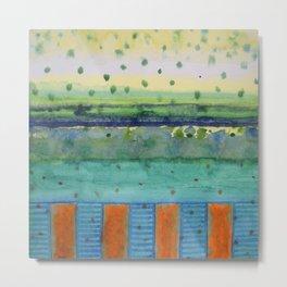 Orange Posts With Landscape Metal Print